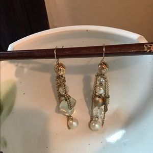 Vintage earrings with gold chain and faux pearls